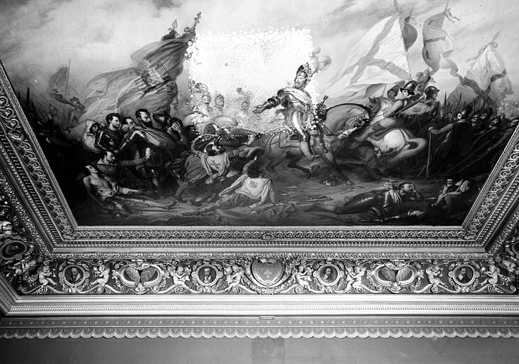 Galerie Campana, voussure nord et plafond peint de la 2e salle : La Clémence d'Henri IV après la victoire d'Ivry