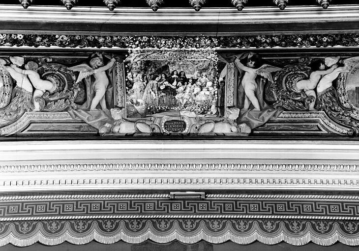Galerie Campana, voussure nord de la 3e salle, détail d'un petit panneau peint :  Première séance de l'Académie des Sciences