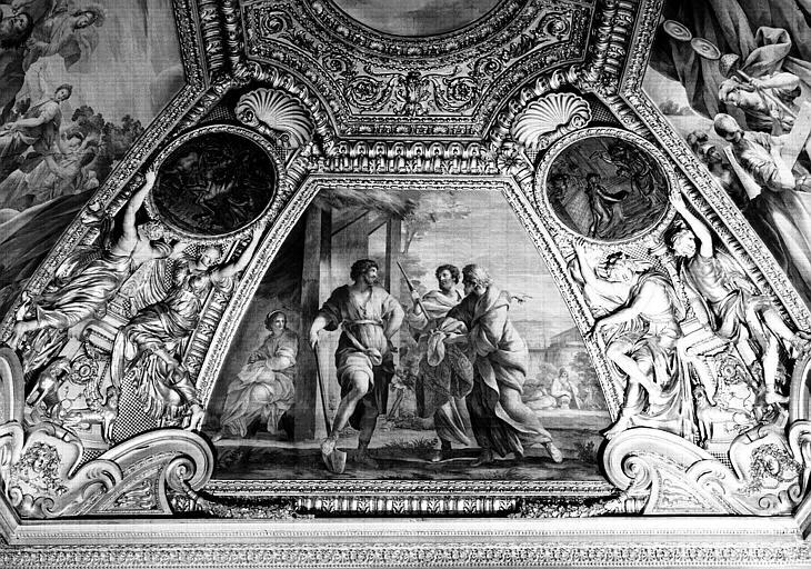Appartements d'Anne d'Autriche, plafond peint de la salle Septime Sévère (ancien cabinet)  : Les députés du Sénat offrant à Cincinnatus la pourpre de dictateur