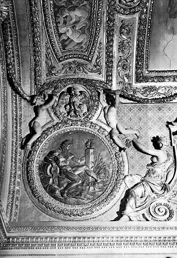 Médaillon sculpté du plafond, côté est : Le Rhin