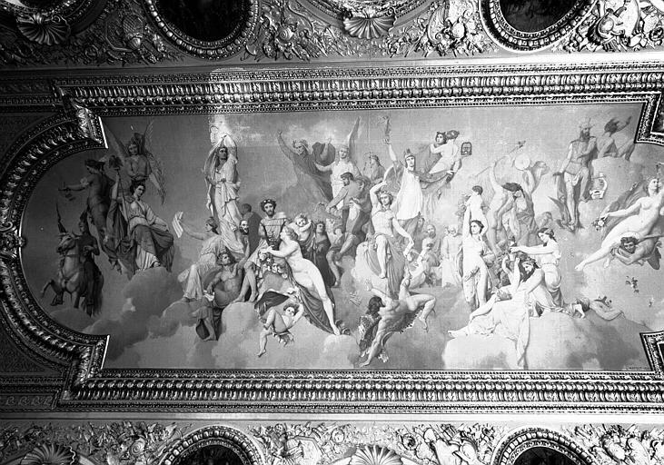Salle d'Auguste, plafond peint (panneau principal) : L'Assemblée des Dieux