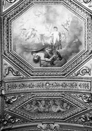 Appartements d'Anne d'Autriche, plafond peint de la Salle des Antonins (ancienne chambre) : L'Hercule français (grand panneau), et Putti (petit panneau)