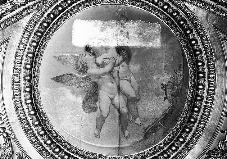 Appartements d'Anne d'Autriche, plafond peint de la Salle des Antonins (ancienne chambre) : Les Génies des Arts (médaillon)