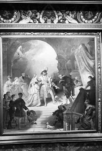 Galerie Campana, plafond peint de la 4e salle : François 1er, accompagné de la reine de Navarre, reçoit les oeuvres apportées d'Italie par le Primatice