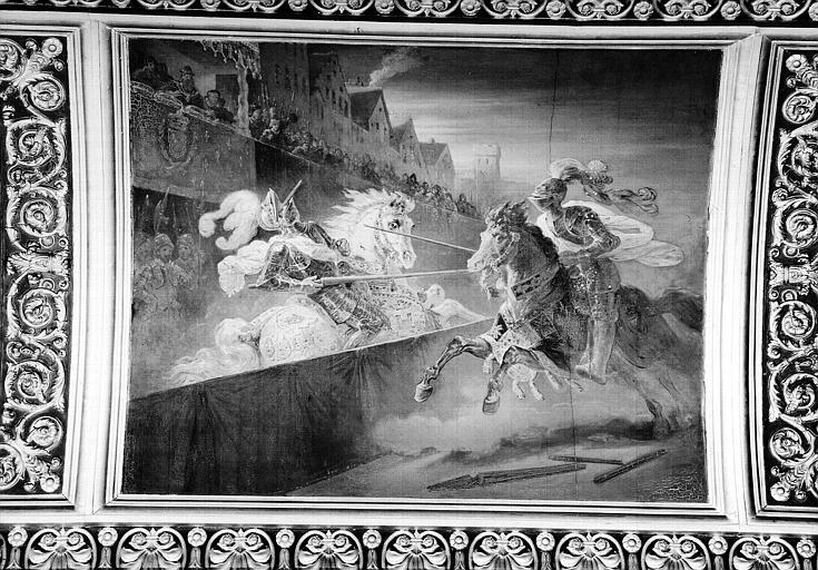 Galerie Campana, voussure peinte de la 5e salle : Tournoi de 1559 dans lequel Henri II fut mortellement blessé par Mongomery