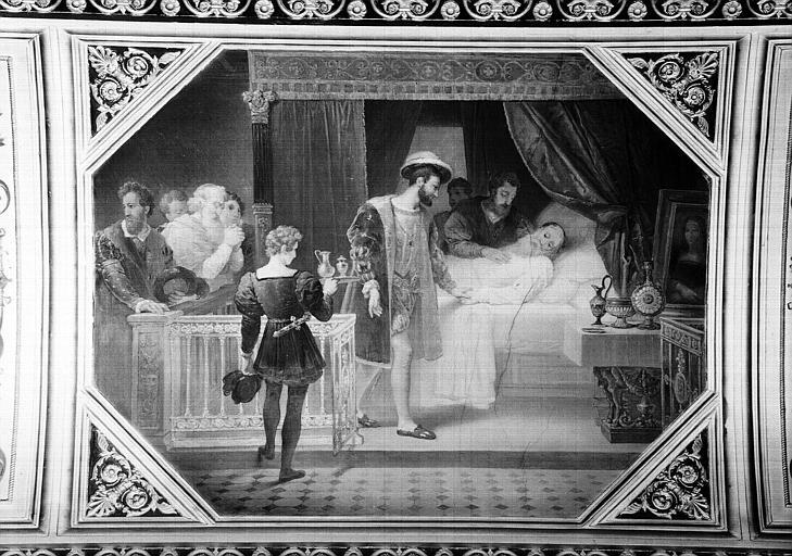 Galerie Campana, voussure peinte de la 5e salle : François 1er visitant Léonard de Vinci sur son lit de mort