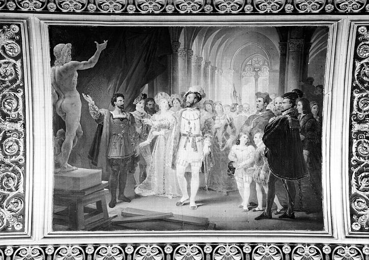 Galerie Campana, voussure peinte de la 5e salle : François 1er visitant l'atelier de B. Cellini à l'Hôtel de Nesle