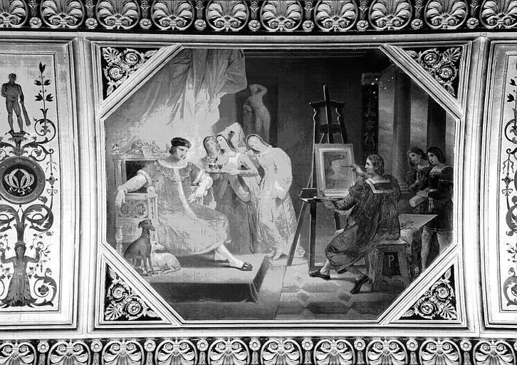 Galerie Campana, voussure du plafond peint de la 5e salle : Le Pérugin faisant le portrait de Charles VII