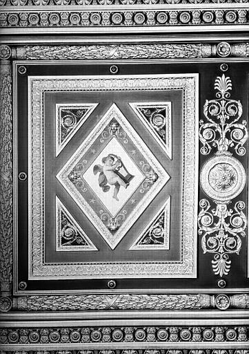 Galerie Campana, partie gauche du plafond peint de la 5e salle : Putto