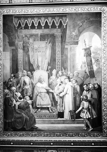 Galerie Campana, plafond peint de la 7e salle : Charlemagne reçoit Alcuin qui lui présente des manuscrits, ouvrages de ses moines