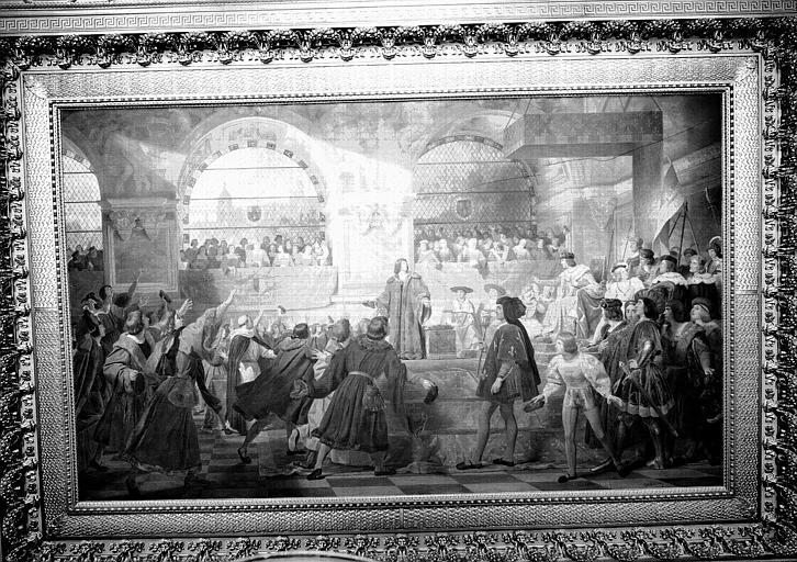 Galerie Campana, plafond peint de la 8e salle : Louis XII proclamé père du peuple aux Etats Généraux tenus à Tours en 1506