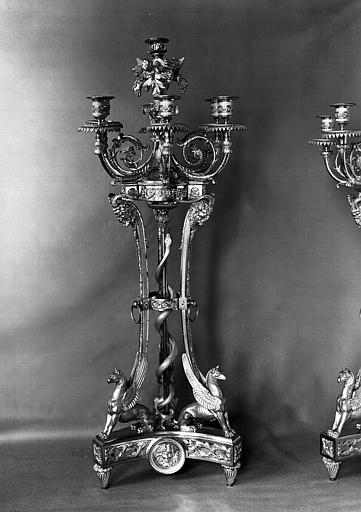 Paire de candélabres en bronze doré d'époque Louis XVI (A1)