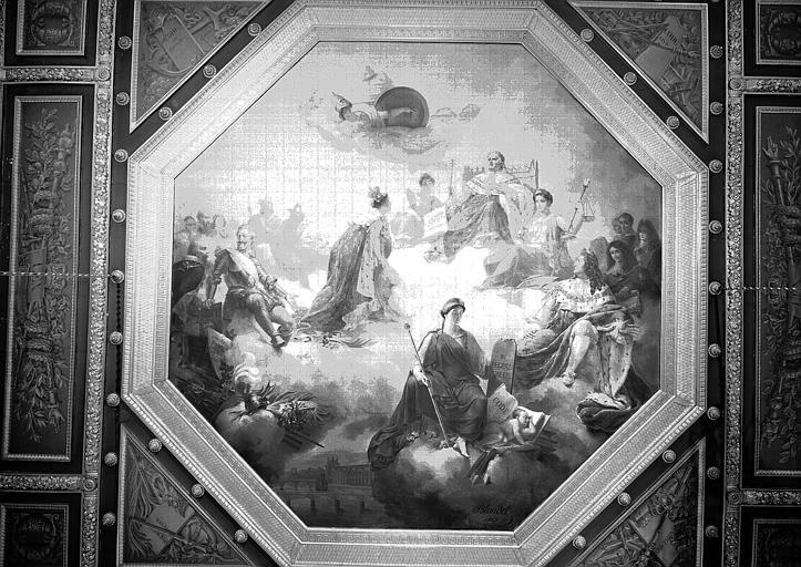 Salle Camondo, plafond peint : La France reçoit de Louis XVIII la Charte Constitutionnelle