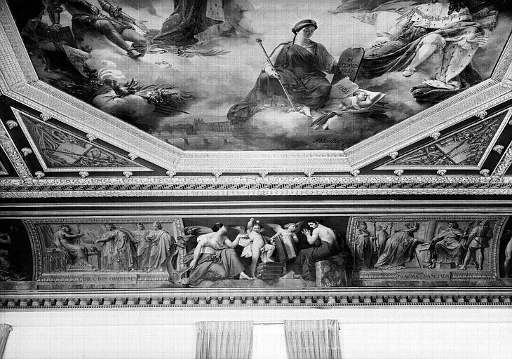 Salle Camondo, panneau central de la voussure ouest : Le Génie des Lois montrant la Charte à l'Espérance et à la Foi