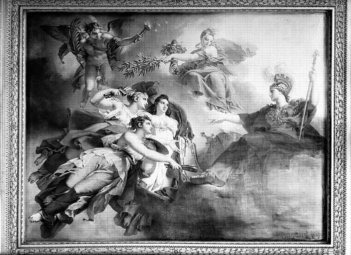 Salle Percier, plafond peint : La France protégeant les Arts