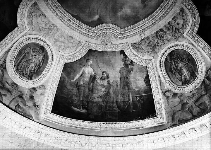 Rotonde, panneau peint du pendentif ouest : Le Feu ou Vénus recevant de Vulcain les Armes d'Enée (Grisailles)
