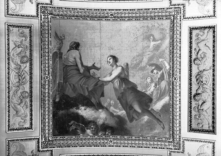 Salle de Diane, plafond peint : Diane prie Jupiter de ne pas l'assujettir aux lois de l'hymen