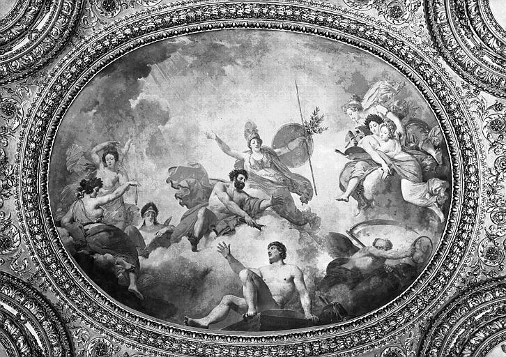 Rotonde, plafond peint : L'homme formé par Prométhée et animé par Minerve