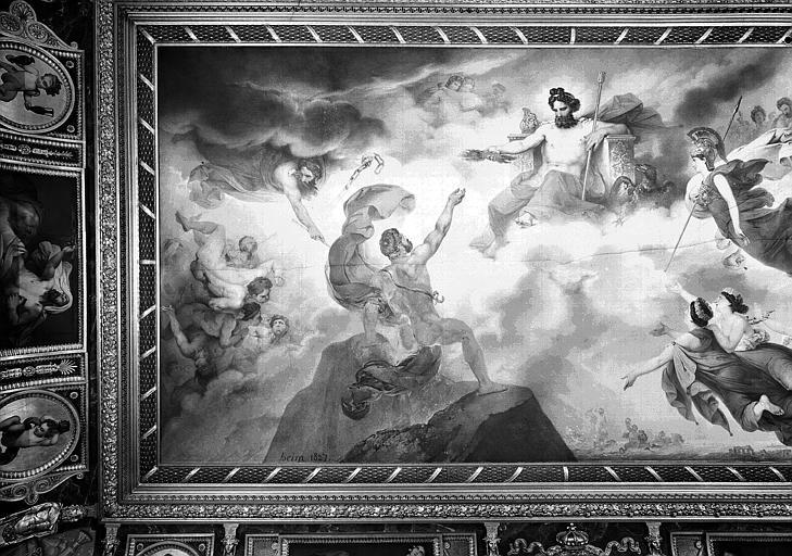Galerie Charles X, plafond peint de la 8e salle : Le Vésuve personnifié obtient de Jupiter le feu qui doit consumer Pompéi, Herculanum et Stalies (partie gauche)