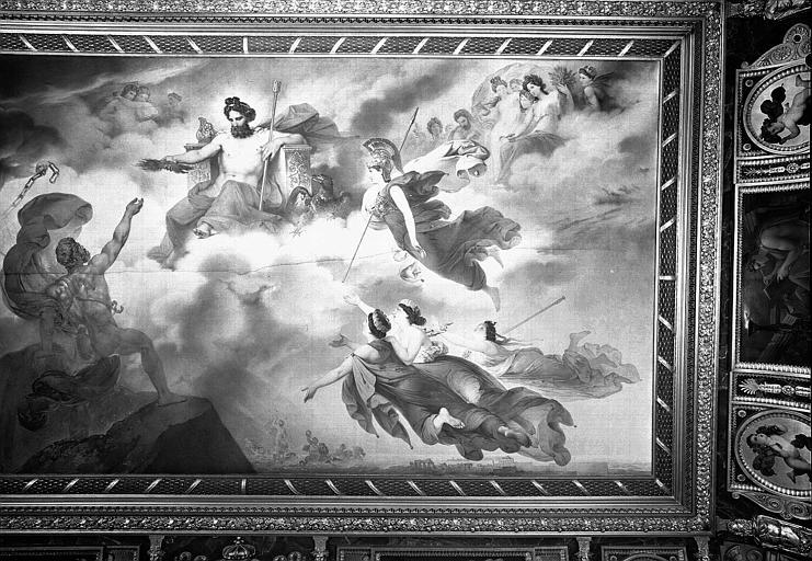 Galerie Charles X, plafond peint de la 8e salle : Le Vésuve personnifié obtient de Jupiter le feu qui doit consumer Pompéi, Herculanum et Stalies (partie droite)