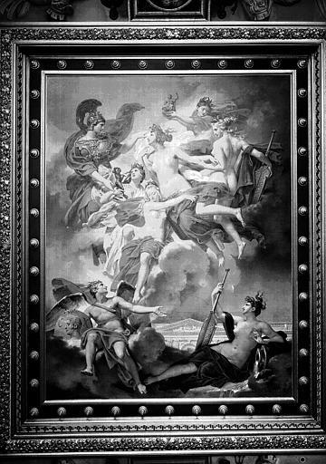 Galerie Charles X, plafond peint de la 7e salle : Les Nymphes du Parthénope emportant leurs Pénates, sont conduites par Minerve sur les bords de la Seine