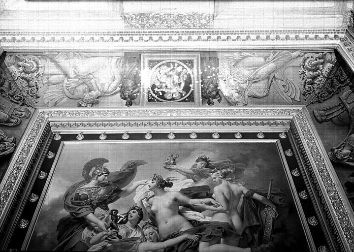 Galerie Charles X, voussure de la 7e salle : Génies volant, Allégories de Stabies et Résine (Grisailles)