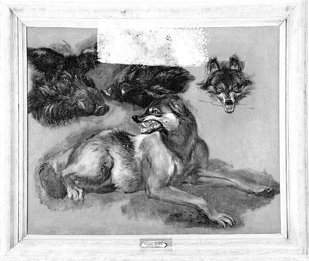 Peinture sur toile : Loup, tête de loup et deux têtes de sanglier