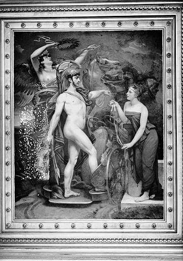 Galerie Charles X, plafond peint de la 5e salle : Mars, couronné par la Victoire, écoute la Modération
