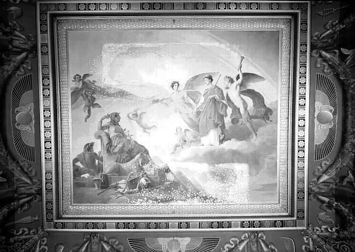 Galerie Charles X, plafond peint de la 4e salle : L'Etude et le Génie dévoilent l'antique Egypte à la Grèce