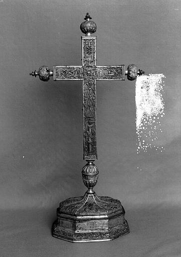 Croix d'autel en cuivre doré et argenté (revers)