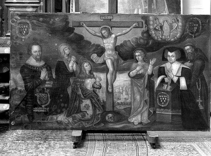 Peinture sur toile : La Crucifixion et les donateurs