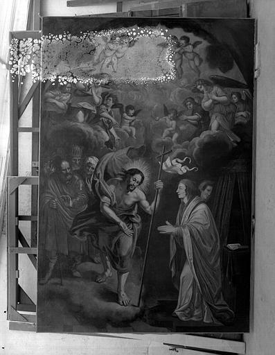 Peinture sur toile : Le Christ apparaissant à une sainte (sainte Hélène ?)