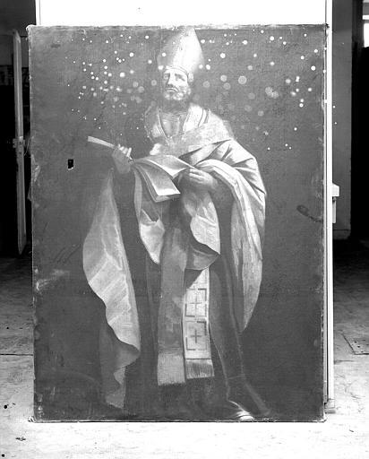 Peinture sur toile : Saint Augustin (copie d'un tableau espagnol du 17e ?)