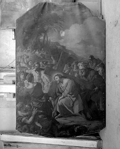 Peinture sur toile : Le Portement de Croix, signée et datée
