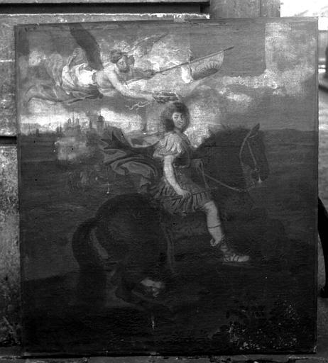 Peinture sur toile : Louis XIV à cheval, en empereur romain, couronné par la Victoire