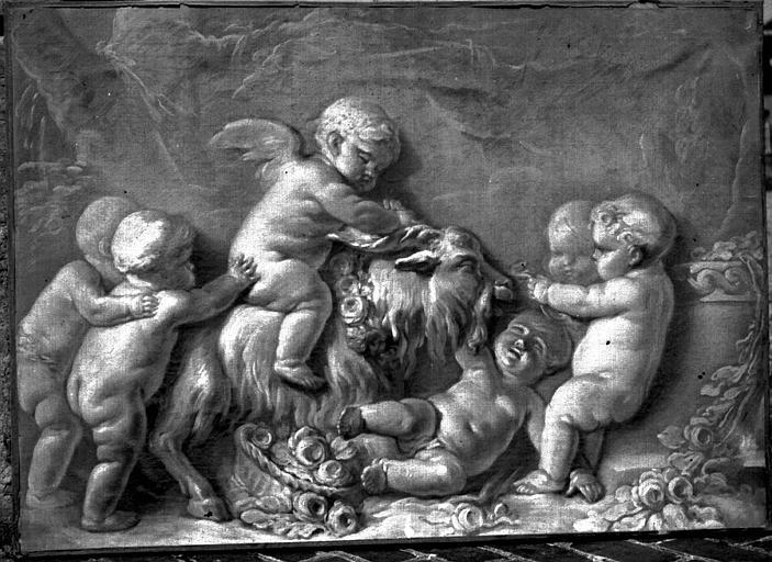 Peinture sur toile : Enfant jouant avec une chèvre