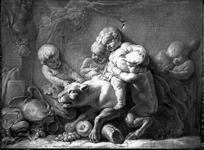 Peinture sur toile : Enfant jouant avec un chien