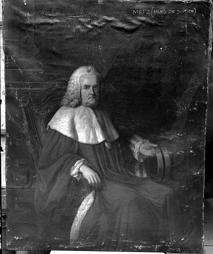 Peinture sur toile : Messire Mathieu de Montholon, Chevalier Conseiller du Roi en ses Conseils, Premier Président du Parlement de Metz, reçu en avril 1730