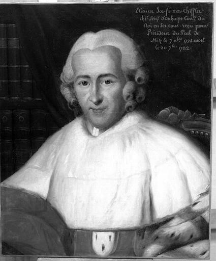 Peinture sur toile : Etienne-Joseph-François-Xavier Chifflet, Conseiller du Roi en ses Conseils, reçu par le Premier Président du Parlement de Metz le 7 octobre 1775 et mort le 20 septembre 1782