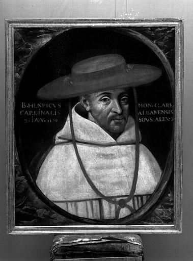 Panneau peint : Portrait de Henri, abbé de Clairvaux, cardinal évêque d'Albano en 1179