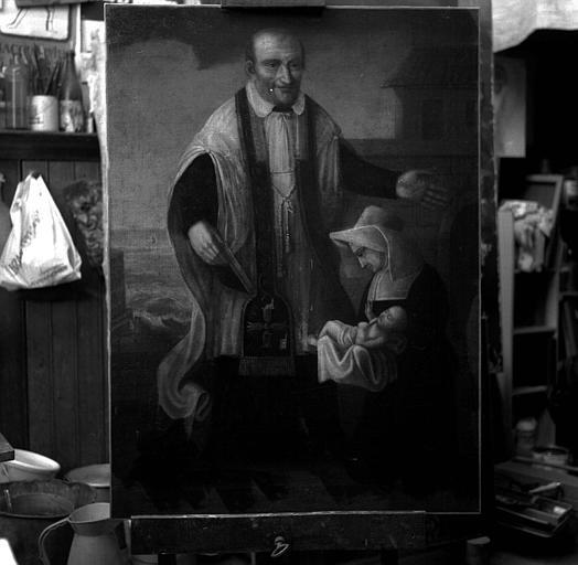 Peinture sur toile : Saint Vincent de Paul et une religieuse avec un enfant