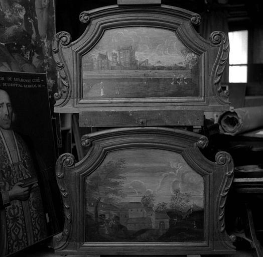Deux toiles avec cadre chantourné : Paysage