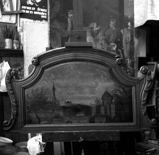 Peinture sur toile avec cadre chantourné : Paysage