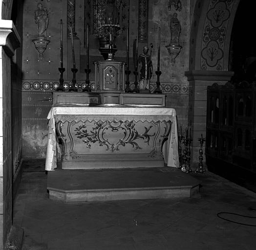 Autel latéral gauche en bois peint et doré : Saint Nicolas