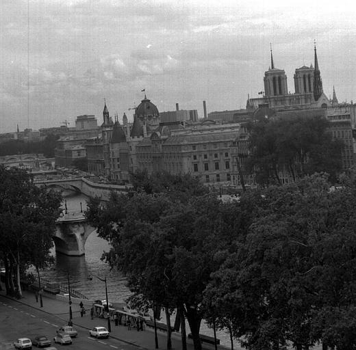 Vue panoramique prise des toits du Louvre : Le Pont-Neuf, La Conciergerie, Notre-Dame