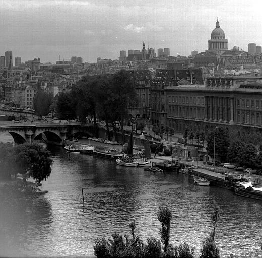 Vue panoramique prise des toits du Louvre : Le Quai Conti, Le Panthéon