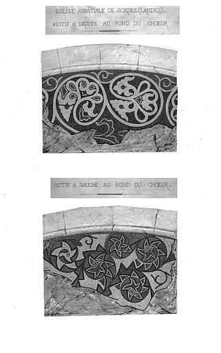 Relevé des mosaïques du choeur (aquarelle) : Motif à droite et motif à gauche, au fond du choeur
