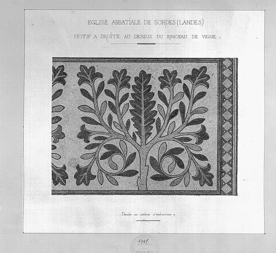 Relevé des mosaïques du choeur (aquarelle) : Motif à droite au-dessus du rinceau de vigne