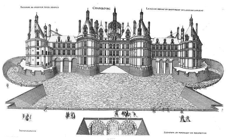 Dessin en perspective de la façade est sur le parc