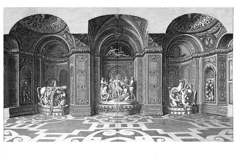 Gravure : Vue intérieure de la grotte de Thétys